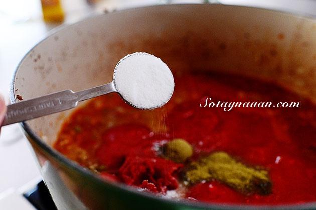 Nau an ngon, mon ngon, my y, my spaghetty, my spaghetty sot thit bo, my y sot thit bo - buoc 21
