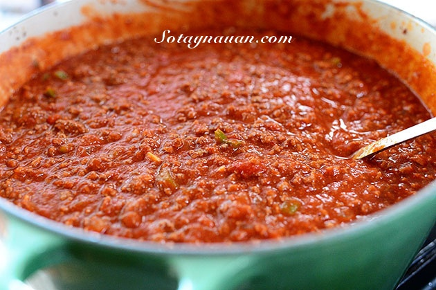 Nau an ngon, mon ngon, my y, my spaghetty, my spaghetty sot thit bo, my y sot thit bo - buoc 26