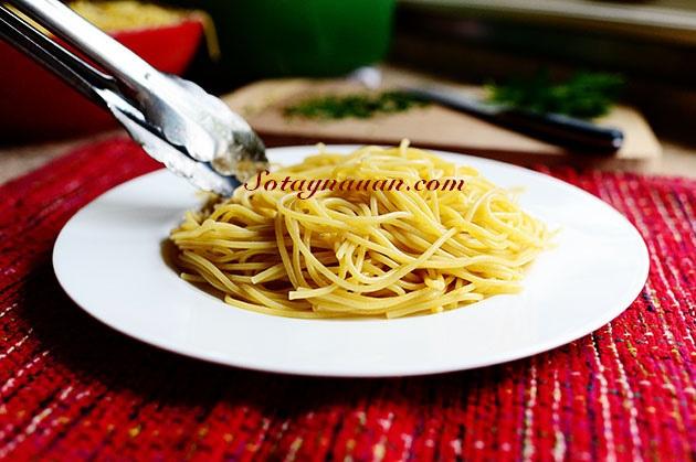 Nau an ngon, mon ngon, my y, my spaghetty, my spaghetty sot thit bo, my y sot thit bo - buoc 36