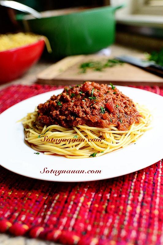 Nau an ngon, mon ngon, my y, my spaghetty, my spaghetty sot thit bo, my y sot thit bo - buoc 38