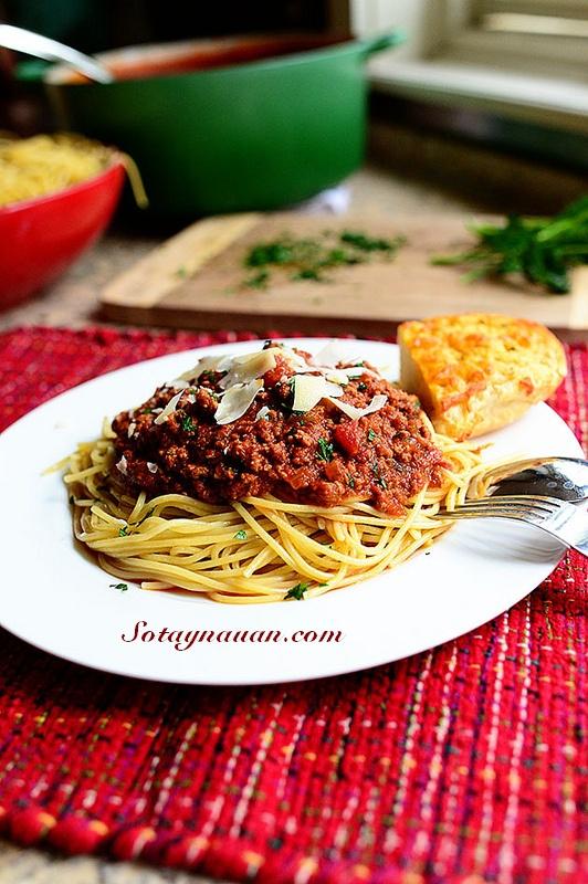 Nau an ngon, mon ngon, my y, my spaghetty, my spaghetty sot thit bo, my y sot thit bo - buoc 40