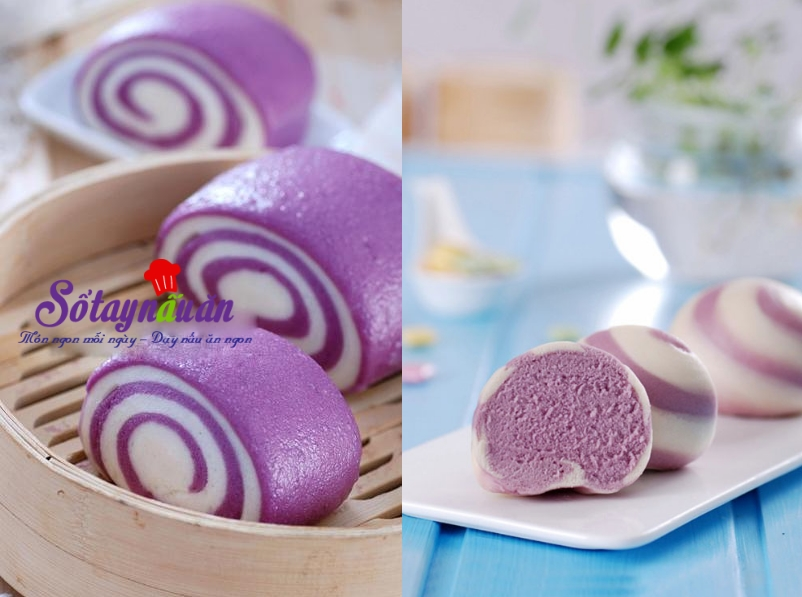 Cách làm bánh bao chay khoai lang tím