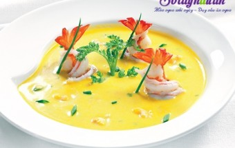 Nấu ăn món ngon mỗi ngày với Kem tươi, Súp tôm bí đỏ cho bé, súp bí đỏ, soup bí đỏ, soup tôm