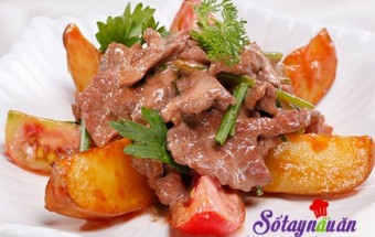 món ngon hàng ngày, thịt bò xào khoai tây, bo xao khoai tay, khoai tay xao bo