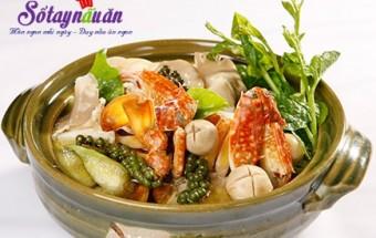 Nấu ăn món ngon mỗi ngày với Nấm rơm, Nấu lẩu ghẹ thơm ngon