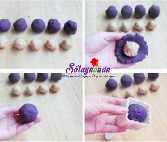 Cách làm bánh trung thu hạt sen khoai lang tím