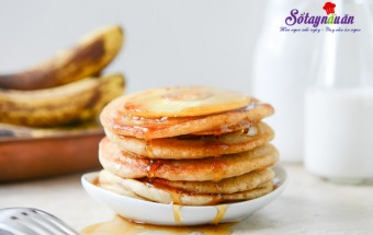 Món ăn sáng, cách làm bánh pancake chuối dứa