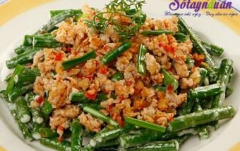 Nấu ăn món ngon mỗi ngày với Thịt nạc dăm, đậu đũa xào tôm thịt