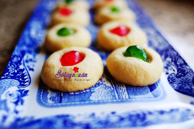 cách làm bánh quy bơ cherry cho tiệc noel đón giáng sinh