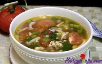 Nấu ăn món ngon mỗi ngày với Thịt nạc xay, Canh thịt nạc nấu với nấm và cà chua