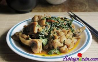 Nấu ăn món ngon mỗi ngày với Gừng tươi, Thơm lừng gà xào húng quế