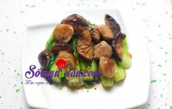 Nấu ăn món ngon mỗi ngày với Dầu hào, Bò viên xào cải thìa nấm hương