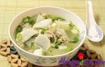 Nấu ăn món ngon mỗi ngày với Thịt nạc xay, Canh thịt nạc nấu cùng củ cải trắng