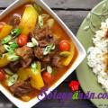 cách làm bắp cải cuộn thịt nướng ngon, Bò hầm cà ri nước cốt dừa