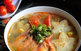 Nấu ăn món ngon mỗi ngày với Lá lốt, Canh tôm khế nấu chua