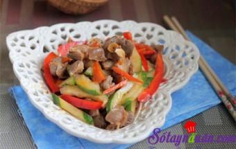 Nấu ăn món ngon mỗi ngày với Ớt chuông đỏ, Mề gà xào rau củ