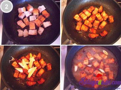Thịt ba chỉ kho củ cải khô 2