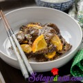 miến xào rau củ kiểu Hàn, Thịt bò sốt cam