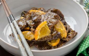 Nấu ăn món ngon mỗi ngày với Gừng băm, Thịt bò sốt cam