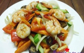 Nấu ăn món ngon mỗi ngày với Ớt chuông, Tôm xào ngũ sắc