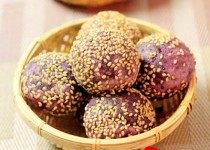 Bánh rán khoai lang tím nhân đậu đen