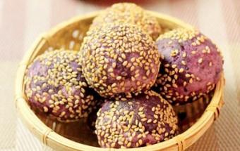 Nấu ăn món ngon mỗi ngày với Bột gạo tẻ, Bánh rán khoai lang tím nhân đậu đen
