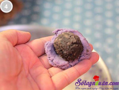 Bánh rán khoai lang tím nhân đậu đen 4