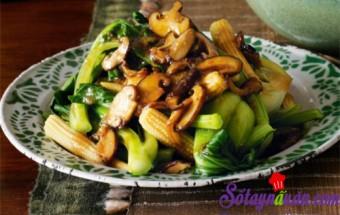 Nấu ăn món ngon mỗi ngày với ngô bao tử, Cải thìa xào nấm