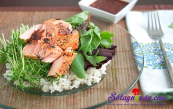 Nấu ăn món ngon mỗi ngày với Vừng rang, Cơm cá hồi chiên