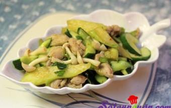 Nấu ăn món ngon mỗi ngày với Nấm, Thịt gà xào dưa chuột
