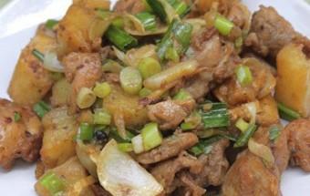 Nấu ăn món ngon mỗi ngày với Khoai tây, Thịt gà xào khoai tây chiên