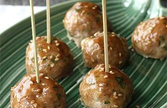 Nấu ăn món ngon mỗi ngày với Vừng rang, Thịt viên nướng sốt teriyaki