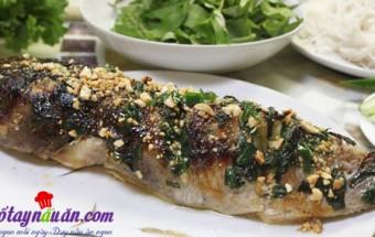 Nấu ăn món ngon mỗi ngày với Hành lá thái nhỏ, Cá nướng cuộn bánh tráng