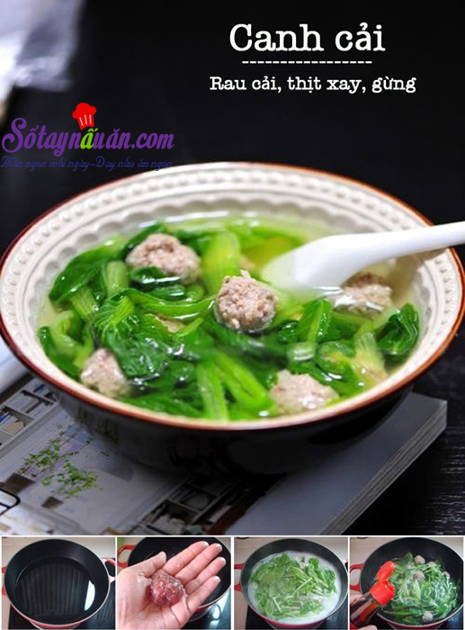 Canh rau cải nấu thịt 1