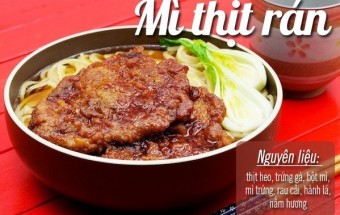Nấu ăn món ngon mỗi ngày với Rau cải, Mì thịt rán giòn