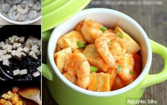 Nấu ăn món ngon mỗi ngày với Đậu phụ, Tôm sốt đậu chua ngọt