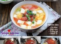 Canh đậu phụ nấu trứng
