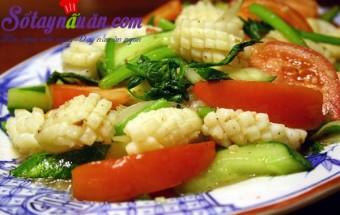 Nấu ăn món ngon mỗi ngày với Dưa chuôt, mực xào rau củ quả