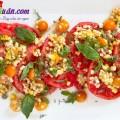 cách làm bánh mì kẹp xíu mại, salad cà chua ngô ngọt