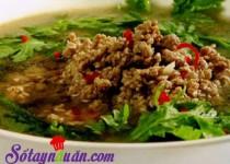 Canh cải cúc nấu thịt bổ dưỡng