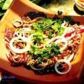 cá nướng cuộn bánh tráng, bắp bò sốt cam