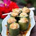 cách làm cơm cá hấp nấm, bí đao dồn thịt 8
