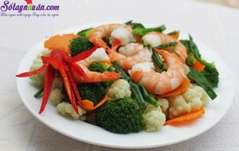 Nấu ăn món ngon mỗi ngày với Tỏi băm, bông cải xanh xào tôm