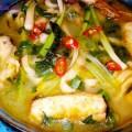 canh chua cá điêu hồng, cá nấu dọc mùng