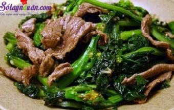 Nấu ăn món ngon mỗi ngày với Bột năng, cải xào thịt bò