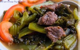 Nấu ăn món ngon mỗi ngày với Hành hoa, thịt bò xào cải chua