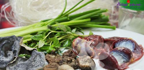 cách làm miến nấu lòng gà