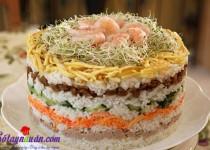 Cách làm tháp cơm sushi 8 tầng lạ, ngon, dễ làm