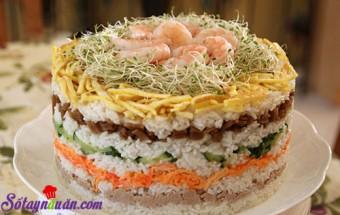 cách làm món ăn lạ, Cách làm tháp cơm sushi 8 tầng lại ngon dễ làm kết quả