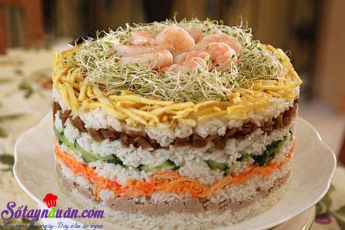 Cách làm tháp cơm sushi 8 tầng lại ngon dễ làm kết quả
